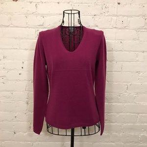 Ann Taylor Plum Cashmere V-Neck Sweater PS